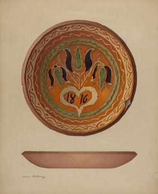 Pa. German Scraffito Plate