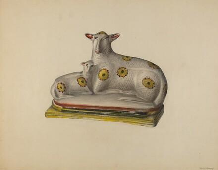 Pa. German Chalkware Sheep