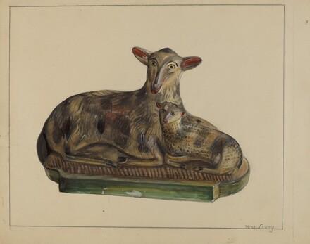 Pa. German Chalkware Lamp and Sheep