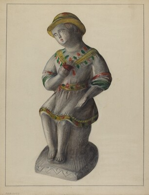 Pa. German Chalkware Shepherd Boy