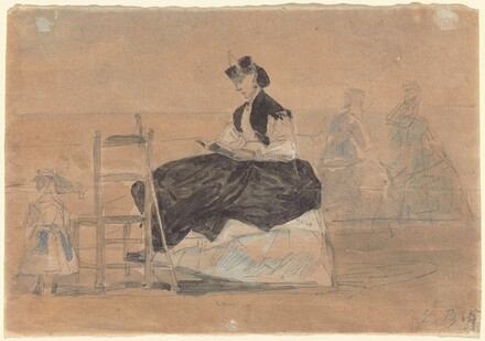 Woman in a Crinoline on the Beach of Trouville