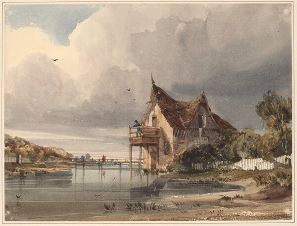 A River and Cottage with White Paling