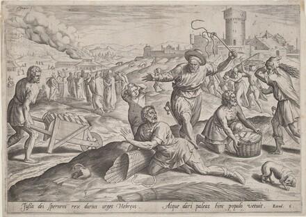 The Taskmaster of the Pharaoh Beating the Israelites
