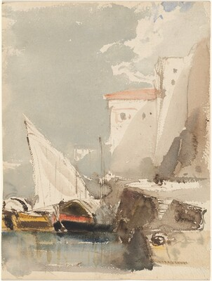 Sailboats in a Sunlit Harbor  (recto)