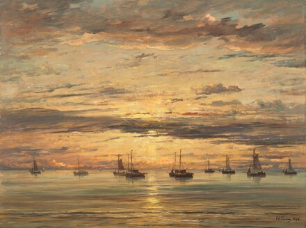 Sunset at Scheveningen:  A Fleet of Fishing Vessels at Anchor