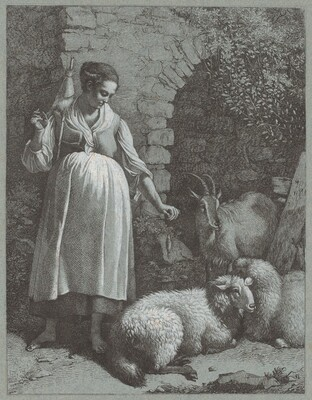 Woman Spinning Yarn by an Arch