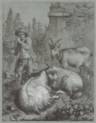 Shepherd Playing a Flute with Goats