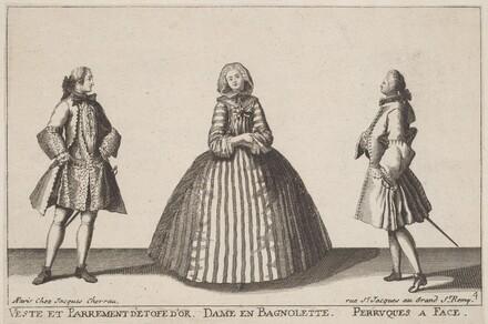 Veste et Parrement d'Etofe d'Or/Dame en Bagnolette/Perruques à Face