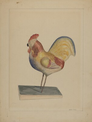 Pa. German Toy Rooster w/ Bellows