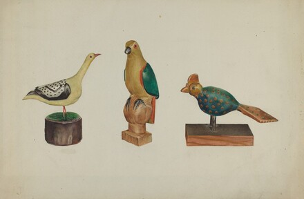 Pa. German Three Carved and Painted Birds