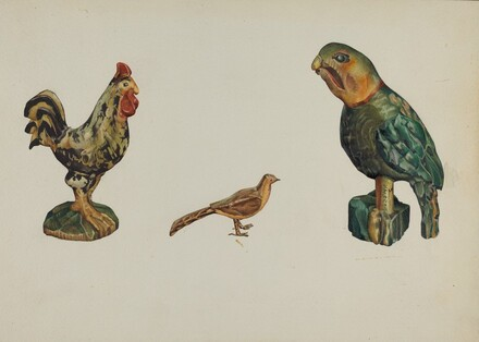 Wooden Rooster, Pheasant, and Parrot