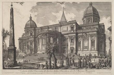 Veduta della facciata di dietro della Basilica di S. Maria Maggiore