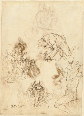 Studies of Christ Healing the Blind Man, Saint Philip Benizzi, and Saint Sebastian