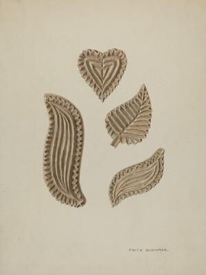 Pa. German Stamping Blocks for Homespun Cotton or Linens