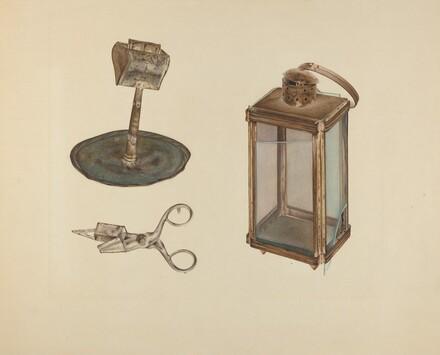 Zoar Candlestick, Snuffer and Lantern