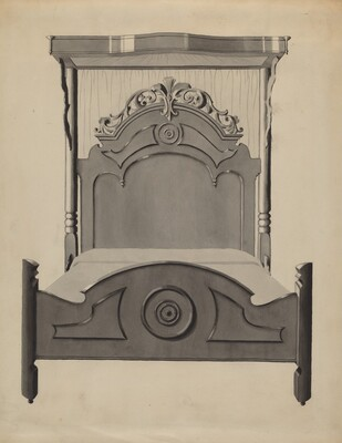 Half-canopy Carved Bed