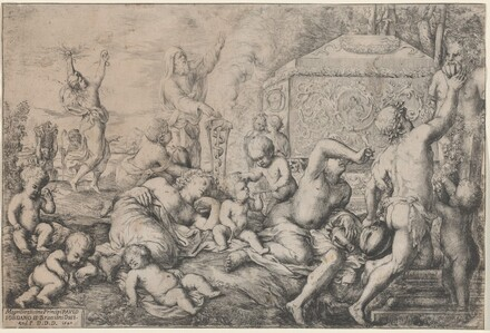 Bacchanal with Altar, Faun, and Silenus