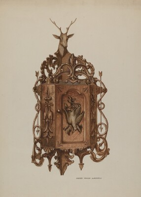 Wall Cabinet, Hand Carved