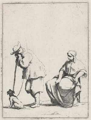 Standing Peasant with a Dog and a Seated Woman