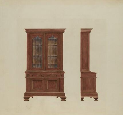 Combination Desk and Bookcase
