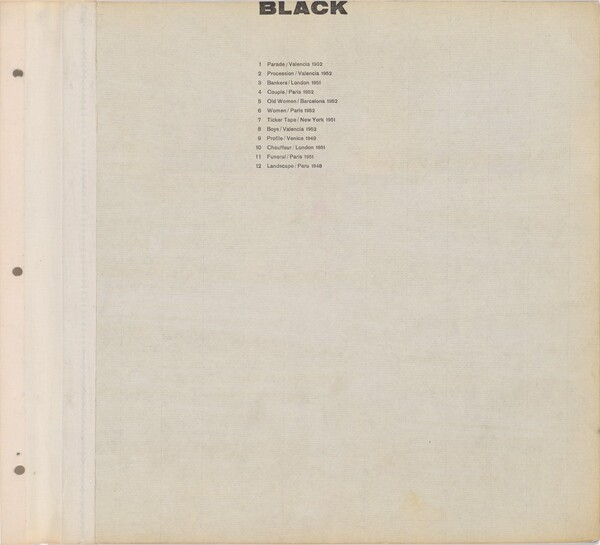 Title page for Black / Text page with illustration number