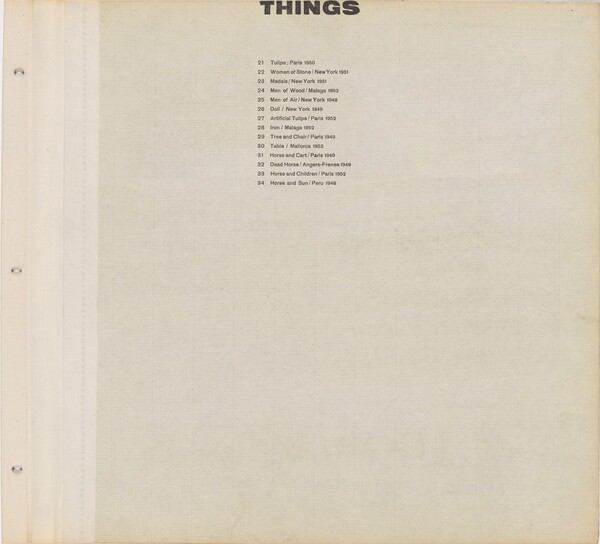 Title page for Things / Text page with illustration number