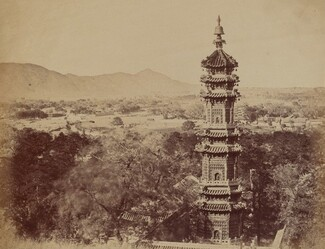 View of the Summer Palace Yuen Min Yuen, Pekin, Showing the Pagoda Before the Burning, October 1860