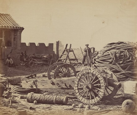 Interior of Pehtang Fort Showing the Magazine and Wooden Gun, August 1, 1860