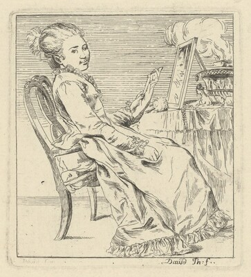 A Seated Young Woman Holding a Letter
