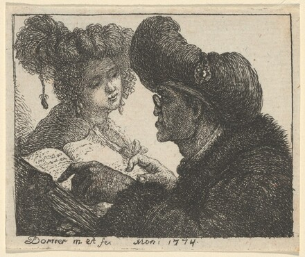 A Man in a Turban Reading to a Young Woman