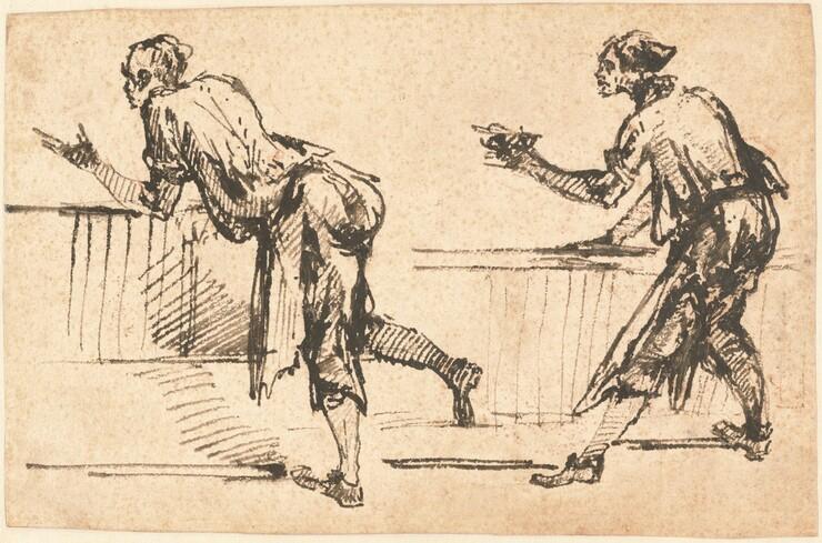 Giovanni Battista Piranesi, Two Workmen at Tables (recto), early 1770searly 1770s