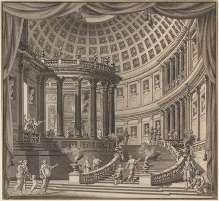 Design for a Stage Curtain: The Interior of an Elaborate Temple Dedicated to Illustrious Men