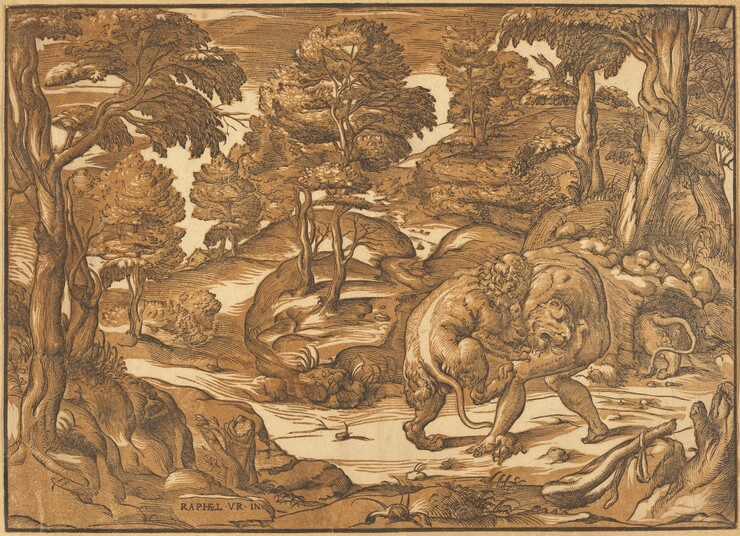 Nicolò Boldrini, Raphael, Hercules and the Nemean Lion, c. 1566c. 1566