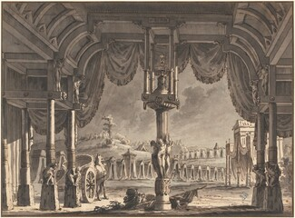 Stage Design of an Ancient Roman Encampment by Night (recto)