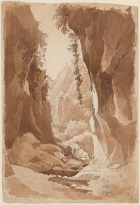 Cliffs Overhanging a River Gorge near Sorrento (recto)