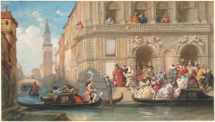 Masqueraders Boarding Gondolas before a Venetian Palazzo