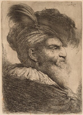 Man with a Long Beard and Headdress, Facing Right