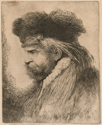 Bearded Man in a Fur Cap, Facing Left