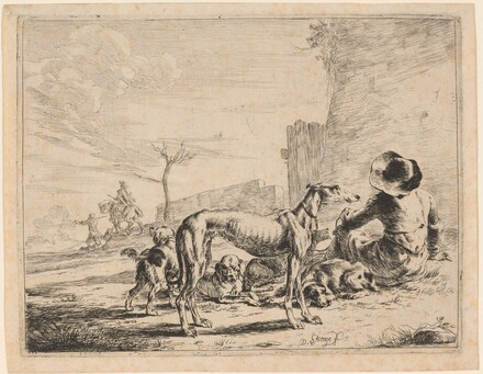 A Seated Man with a Pack of Dogs