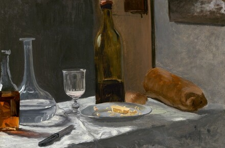 Still Life with Bottle, Carafe, Bread, and Wine