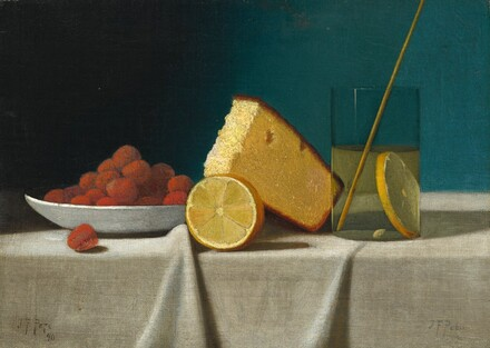Still Life with Cake, Lemon, Strawberries, and Glass