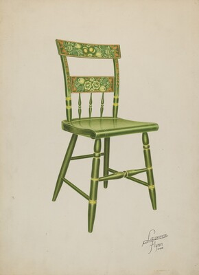 Stencilled Chair - One of Set of Six