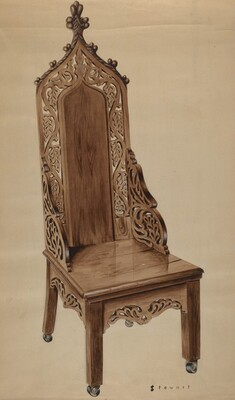 Chair with Carved Grape Leaf Decoration and Gothic Top
