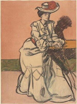 An Elegant Parisiènne Seated in a Café