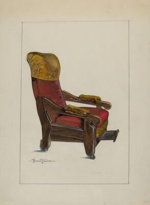 Red Plush Morris Chair
