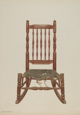 Rocking Chair with Rawhide Seat