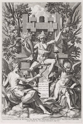 Bacchus Seated on a Barrel between Amor and Music