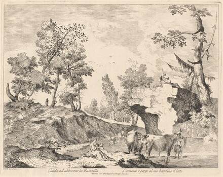 Landscape with Shepherdess and Herd at a Watering Hole