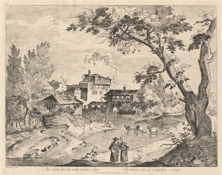 Rustic Village along a River with Travelers