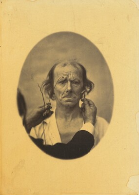 Dissatisfaction, somber thoughts (left); Reflection (right), plate 14 from the album, The Mechanism of Human Facial Expression